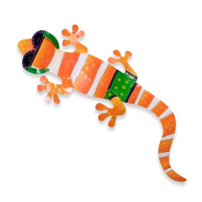 Metal Gecko Wall Plaque in Orange