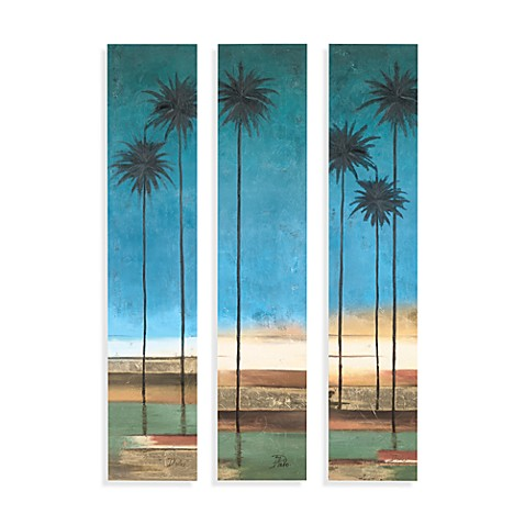 buy palm tree canvas wall art set of 3 from bed bath beyond. Black Bedroom Furniture Sets. Home Design Ideas