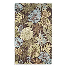 Square 9 Cabana Tropical Leaf Hand Hooked Outdoor Blue Area Rug