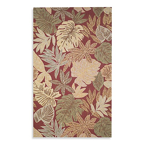 Square 9 Cabana Tropical Leaf Hand Hooked Indoor/Outdoor Red Rug