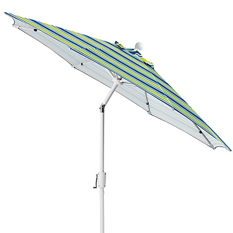 9-Foot Outdoor Umbrella with Aluminum Frame in Blue Stripe