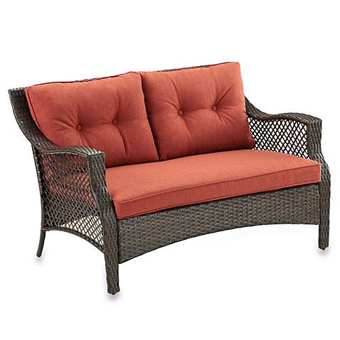 Wicker Deep Seating Outdoor Loveseat with Cinnamon Cushion