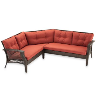 Wicker Deep Seating 3-Piece Sectional Sofa with Cinnamon Cushions