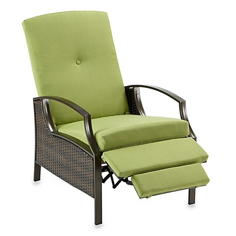 Wicker Deep Seating Outdoor Recliner with Lime Cushions