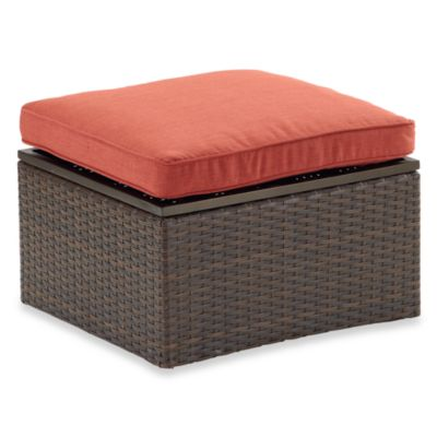 Stratford Wicker Storage Ottoman in Terracotta