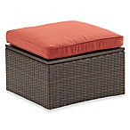 Wicker Storage Ottoman with Cinnamon Cushion