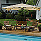 13.6' Solar Lighted Rectangular Cantilever Umbrella - Linen