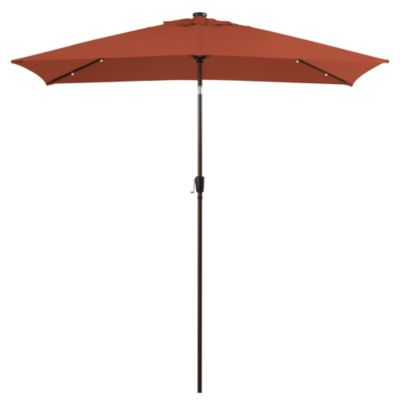 11.5-Foot Rectangular Solar Aluminum Umbrella in Cinnamon