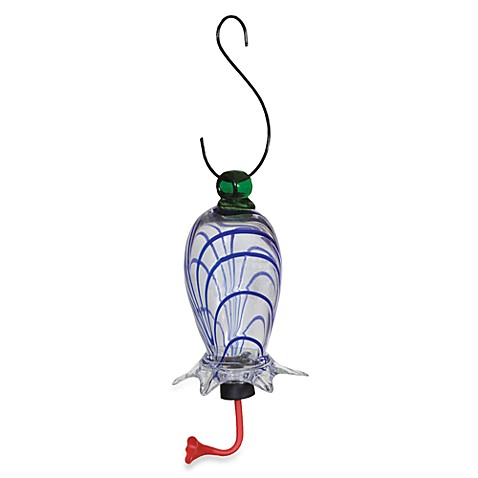 Gardman Clear Glass Cylinder with Blue Hummingbird Feeder
