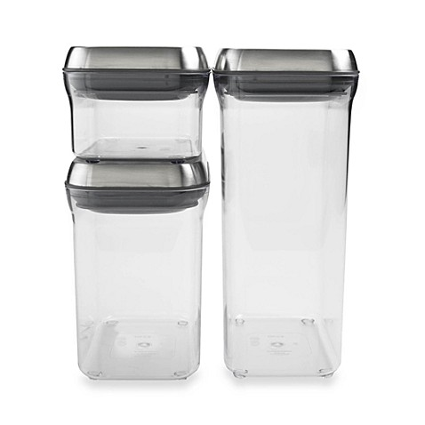 OXO SteeL® POP 3-Piece Stainless Steel Food Storage Container Set