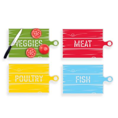 Kikkerland® Country Cutting Mats (Set of 4)