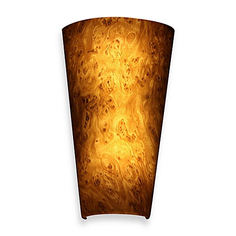 Buy it 39 s exciting lighting battery powered led wall sconce in burlwood from bed bath beyond - Battery operated wall light sconces ...