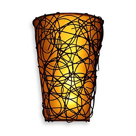 It's Exciting Lighting Battery Powered LED Wicker Shade Wall Sconce with Remote Control