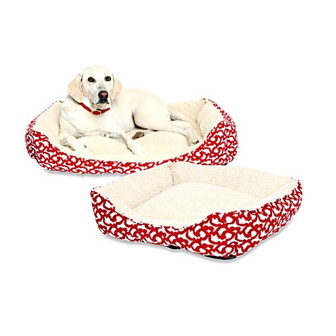 Red Trellis Throne Dog Bed