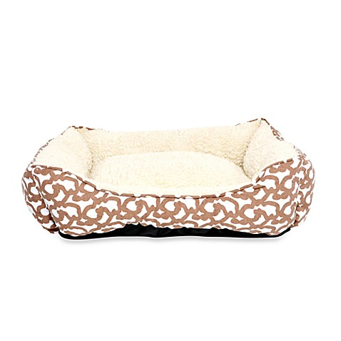 Tan Trellis Throne Dog Bed - Small