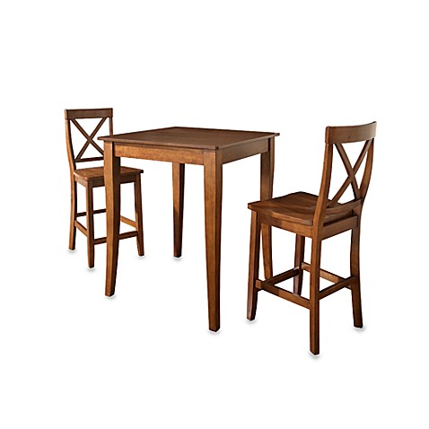 Crosley Pub Dining Set with Cabriole Legs and X-Back Stools (3-Piece Set) in Cherry