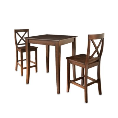 Crosley Pub Dining Set with Cabriole Legs and X-Back Stools (3-Piece Set)