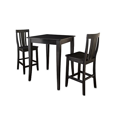 Crosley Pub Dining Set with Cabriole Legs and Shield-Back Stools (3-Piece Set) in Black