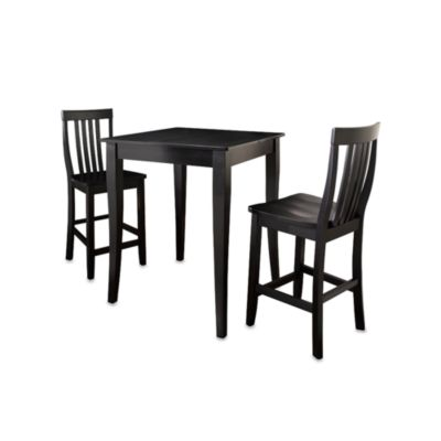 Crosley Pub Dining Set with Cabriole Legs and Schoolhouse Stools (3-Piece Set) in Black