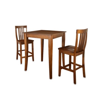 Crosley Pub Dining Set with Cabriole Legs and Schoolhouse Stools (3-Piece Set)