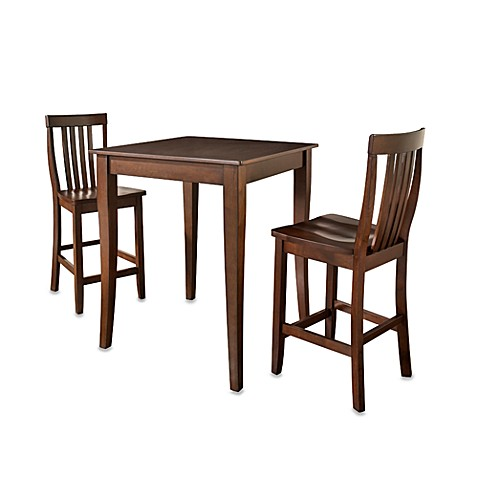 Crosley Pub Dining Set with Cabriole Legs and Schoolhouse Stools (3-Piece Set) in Mahogany