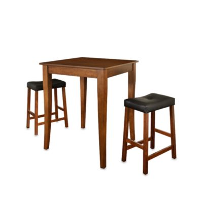 Crosley Pub 3-Piece Set with Cabriole Legs and Saddle Stools in Black