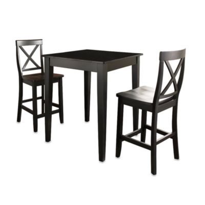 Crosley Pub Dining Set with X-Back Stools and Tapered Legs (3-Piece Set) in Mahogany
