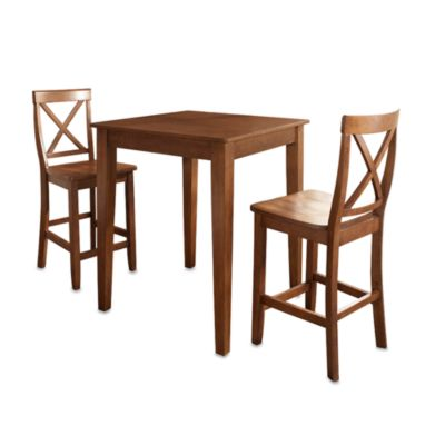 Crosley Pub Dining Set with X-Back Stools and Tapered Legs (3-Piece Set) in Cherry