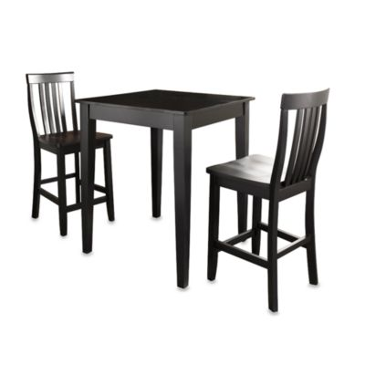 Crosley Pub Set with Tapered Legs & School House Stools (3-Piece Set) in Black