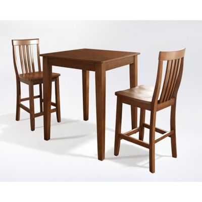 Crosley Pub Set with Tapered Legs & School House Stools (3-Piece Set)