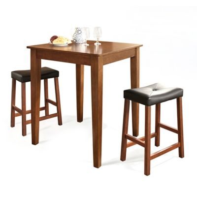 Crosley Tapered Leg Pub Dining Set with Saddle Stools (3-Piece Set) in Mahogany