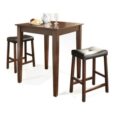Crosley Tapered Leg Pub Dining Set with Saddle Stools (3-Piece Set) in Mahogany