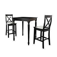 Crosley Turned Leg Pub Set with X-Back Stools (3-Piece Set)