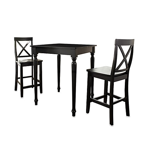 Crosley Turned Leg Pub Set with X-Back Stools (3-Piece Set) in Black