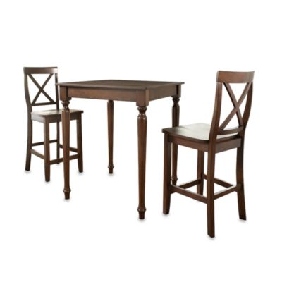 Crosley Turned Leg Pub Set with X-Back Stools (3-Piece Set) in Mahogany