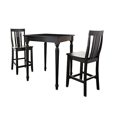 Crosley 3-Piece Turned Leg Pub Dining Set with Shield Back Stools in Black
