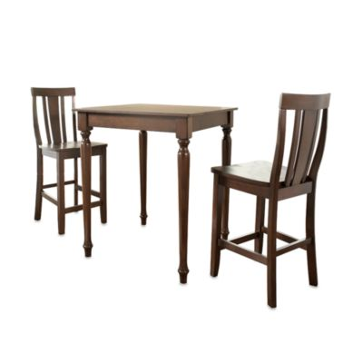 Crosley 3-Piece Turned Leg Pub Dining Set with Shield Back Stools in Mahogany