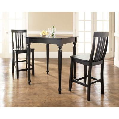 Crosley Turned Leg Pub Set with School House Style Stools (3-Piece Set) in Black