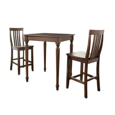 Crosley Mahogany 3-Piece Turned Leg Pub Set with School House Style Stools
