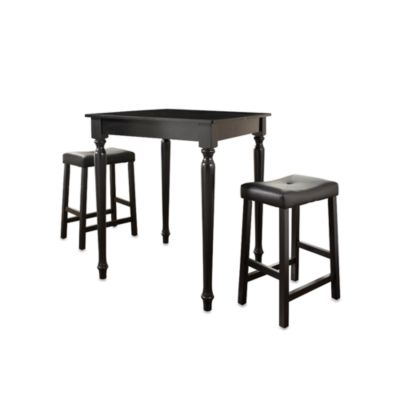 Black Turned Leg Pub Dining Set with Saddle Stools (3 Piece Set)