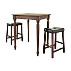 Crosley Mahogany 3-Piece Turned Leg Pub Dining Set with Saddle Stools