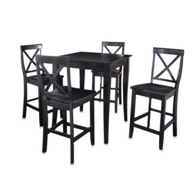 Black Pub Set w/Cabriole Legs & X-Back Stools (5 Piece Set)