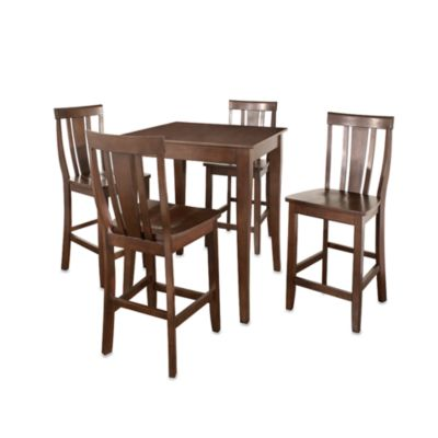 Crosley Cabriole Leg Pub Dining Set with Shield-Back Stools (5-Piece Set) in Black