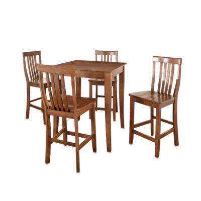 Crosley Cabriole Leg Pub Dining Set with School House Stools (5-Piece Set) in Cherry