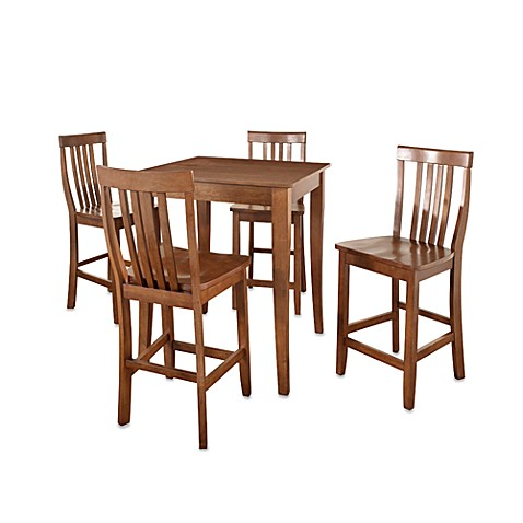 Crosley Cabriole Leg Pub Dining Set with School House Stools (5-Piece Set) in Cherry