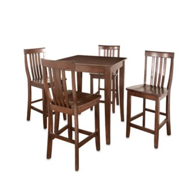 Crosley Cabriole Leg Pub Dining Set with School House Stools (5-Piece Set)