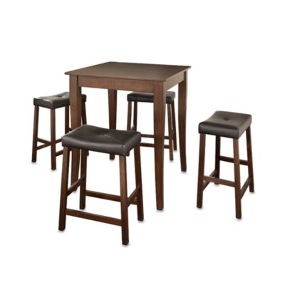 Crosley 5-Piece Cabriole Leg Pub Dining Set with Saddle Stools in Cherry