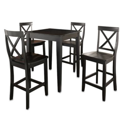 Crosley Tapered Leg Pub Dining Set with X-Back Stools (5-Piece Set) in Black