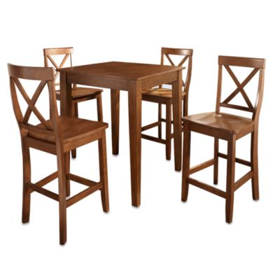 Crosley Tapered Leg Pub Dining Set with X-Back Stools (5-Piece Set) in Mahogany