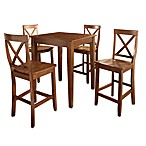 Crosley Tapered Leg Pub Dining Set with X-Back Stools (5-Piece Set)
